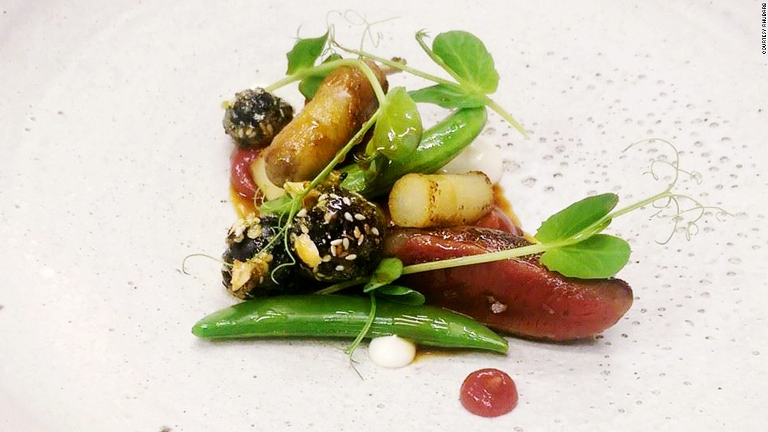 Singapore has a constant appetite for new restaurants. Among the latest is French eatery Rhubarb. Its signature dish is fowl cooked two ways -- a la plancha breast and its leg confit, served with rhubarb and rose puree, salsify and candied grapes in a savory pigeon jus.