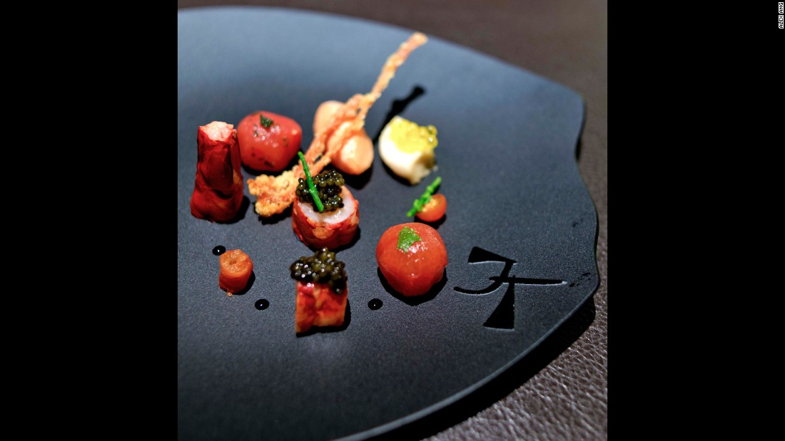 Corner House's creative inventions include this carabinero prawn with textures of tomato and Kristal caviar.