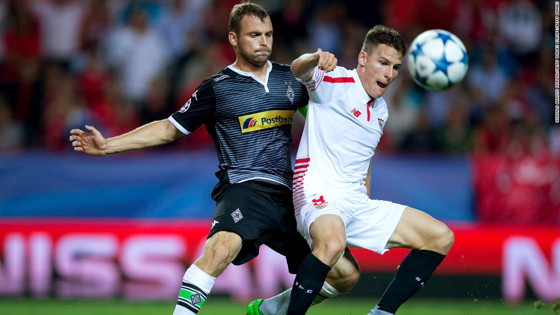 <strong>Scoring in bunches:</strong> Kevin Gameiro (R) of Sevilla has scored half of his team's 14 goals in Europe this season.