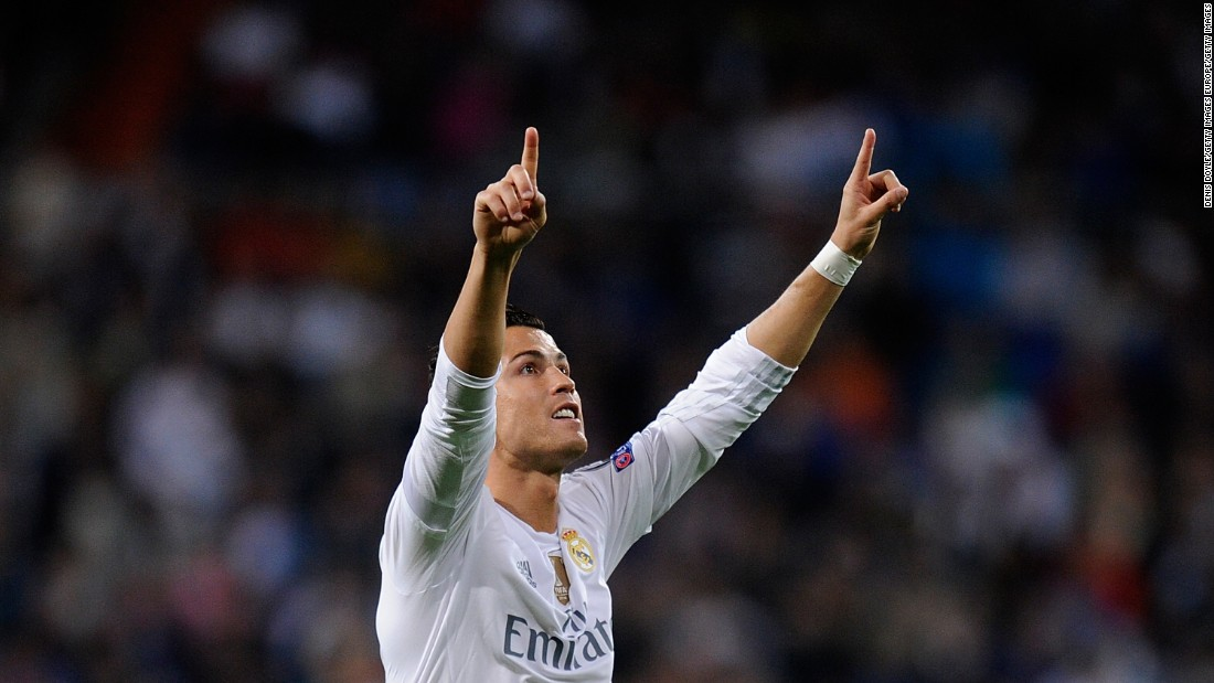 <strong>September 15, 2015<strong></strong>: </strong>Ronaldo sparkles in Real Madrid's 4-0 win over Shakhtar Donetsk at the Santiago Bernabeu. He claimed the 33rd hat-trick of his career and moved three goals clear of Lionel Messi at the top of the Champions League all-time scoring chart on 80.