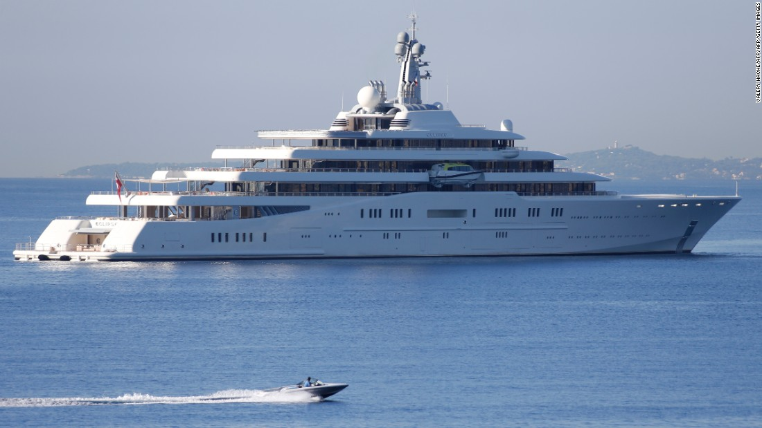 Eclipse is the motor yacht of Chelsea owner Roman Abramovich and is a staggering 163.5 meters long. Squeezed into that are two helicopter pads, two swimming pools, a disco, 24 guest cabins and a submarine that can submerge 50 meters.
