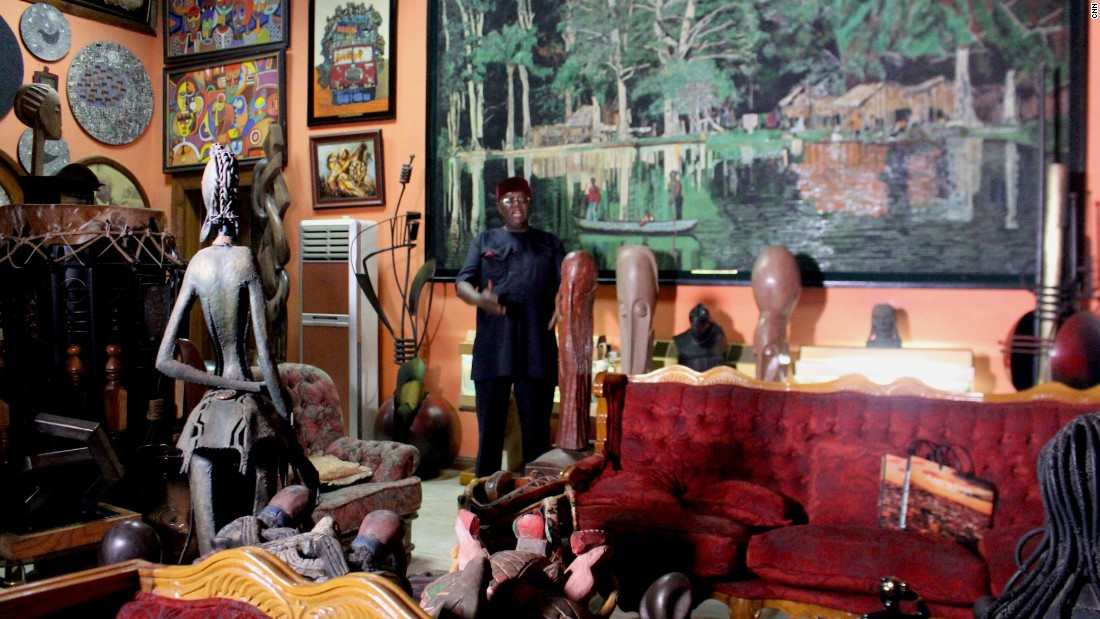 Nigerian Prince Yemisi Shyllon is a major art collector, with over 7,000 pieces which he displays at his house in Lagos.