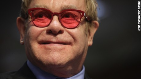 Elton John at a Senate committtee hearing on May 6, 2015 in Washington, D.C.