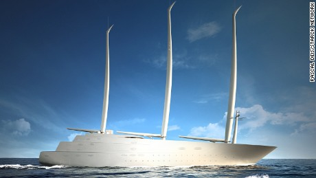 A conceptual design image of Super Yacht A.