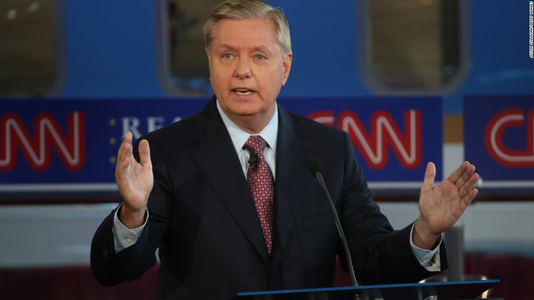 "Graham speaks during the first debate, which was held for the lowest-polling candidates at this point in the campaign. ""Thanks CNN for having people at this debate,"" Graham joked -- a reference to Fox News not having an audience for the second-tier debate last month."