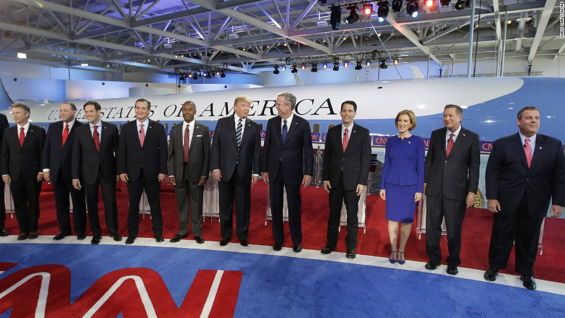 Republican presidential candidates stand on stage before the main debate Wednesday, September 16, at the Reagan Presidential Library in Simi Valley, California. From left to right are U.S. Sen. Rand Paul, former Arkansas Gov. Mike Huckabee, U.S. Sen. Marco Rubio, U.S. Sen. Ted Cruz, retired neurosurgeon Ben Carson, businessman Donald Trump, former Florida Gov. Jeb Bush, Wisconsin Gov. Scott Walker, businesswoman Carly Fiorina, Ohio Gov. John Kasich and New Jersey Gov. Chris Christie.