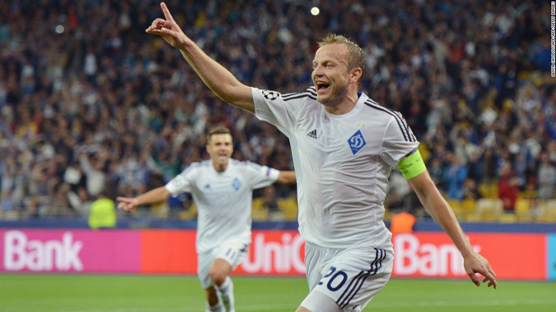 Oleh Husev of Dinamo Kiev celebrates after scoring in the group stage match against Porto. Now the Ukrainians face big-spending Manchester City.