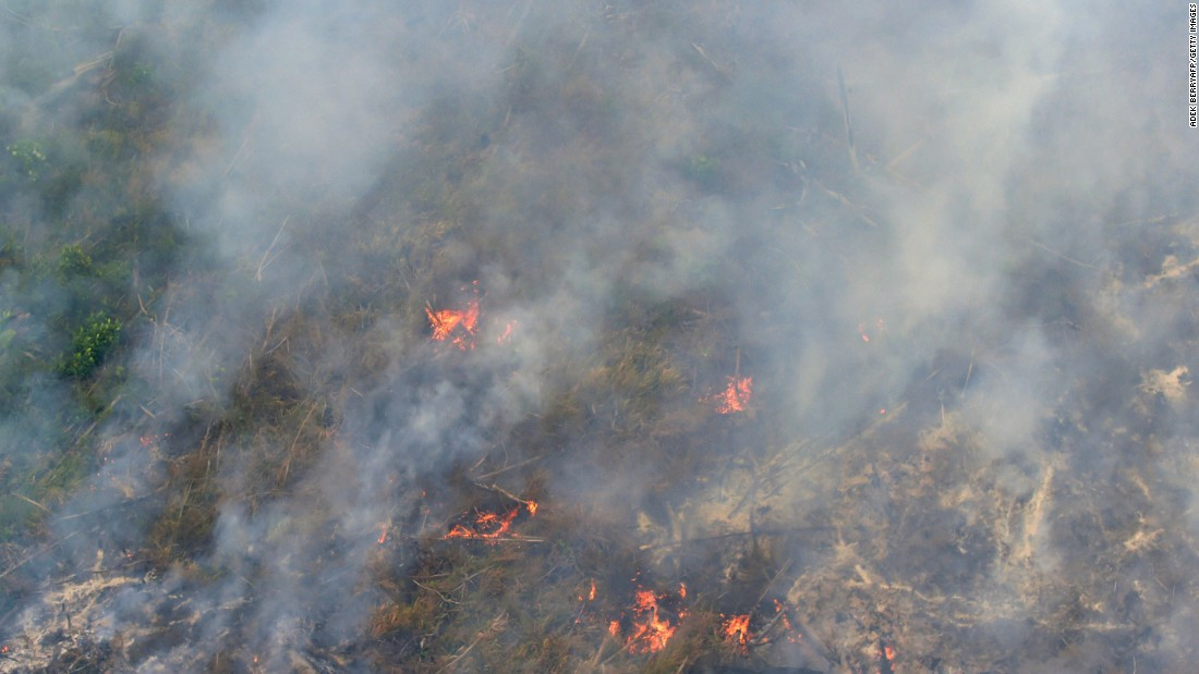 An aerial view from a helicopter shows fires burning in Pelalawan on September 17. The smog has become so bad this year that the Indonesian government has declared a state of emergency in Riau province.