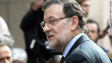 Spanish Prime Minister Mariano Rajoy arrives at EU headquarters in Brussels, Belgium on July 7.