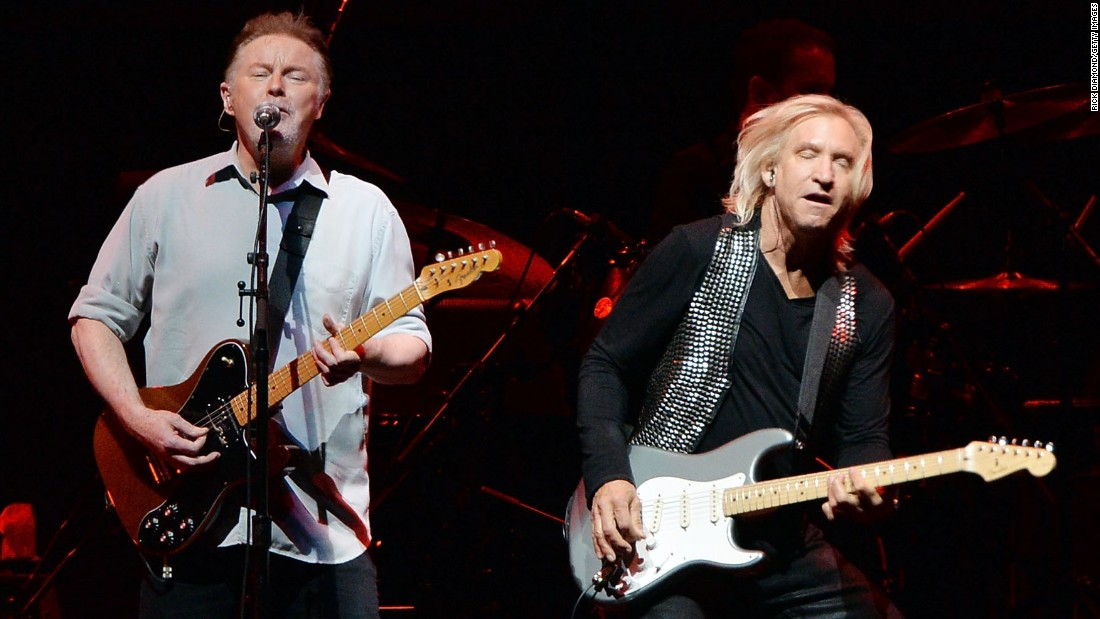 Since then he's released solo albums sparingly and has reunited with his old band, the Eagles, for both recordings and tours. Seen here with fellow Eagle Joe Walsh, right, in 2013 -- Henley remains active, especially with environmental issues.