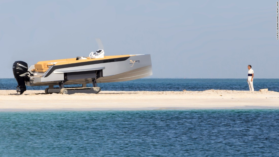 "The fun needn't stop on land, with this eye-catching speedboat able to ""walk"" out of the water thanks to its two hydraulic ""legs.""<br />The<a href=""http://www.iguana-yachts.com/"" target=""_blank""> Iguana Yacht </a>can travel for around 800 meters on dry land and is intended for entering and exiting waterfront properties, rather than extended road journeys."