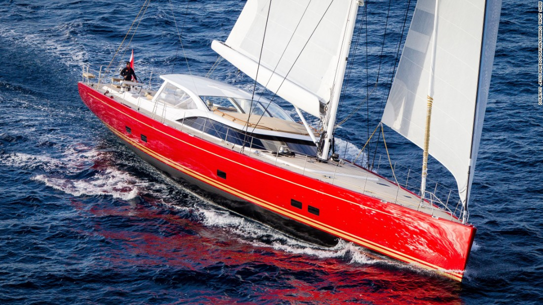 "Dubbed the ""Lady in Red"" by promoters, the <a href=""http://www.monacoyachtshow.com/fr/yacht/5/BALTIC_YACHTS_BALTIC_116_DORYAN.html"" target=""_blank"">Baltic 116 Doryan</a> harks back to a classic sailboat design. At over 35 meters long, the elegant vessel can accommodate 12 guests."