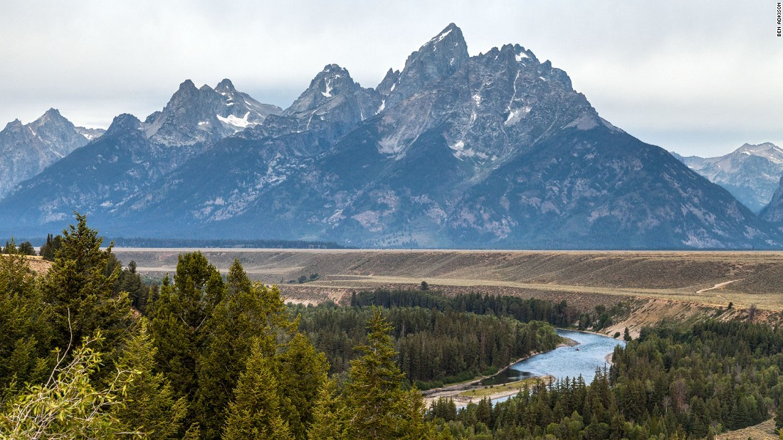 Wyoming's Snake River Overlook, along the highway in Grand Teton National Park, was made famous by Ansel Adams thanks to his 1942 photograph of the vista.