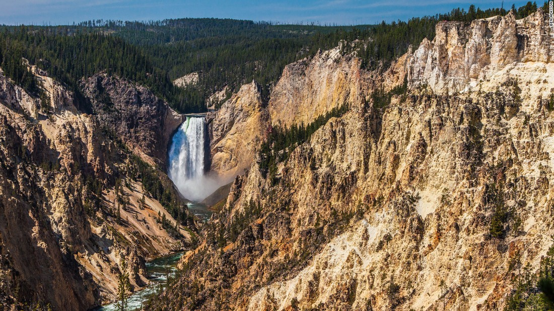 The Lower Falls of the Yellowstone River is the most photographed waterfall in Yellowstone National Park.