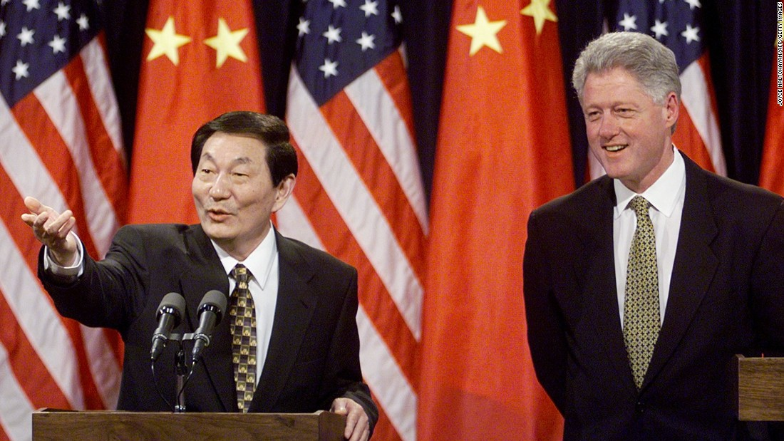Former Chinese Premier Zhu Rongji visits U.S. President Bill Clinton during a nine-day trip in April, 1999 amid strained relations between the two nations.