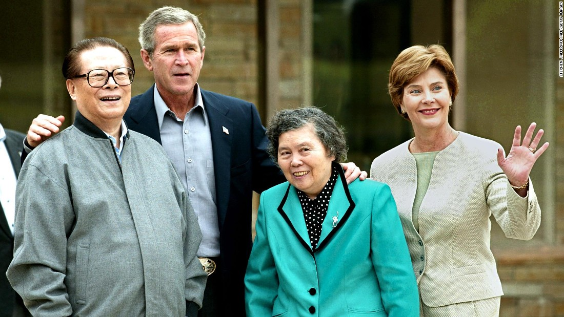 "President George W. Bush and First Lady Laura Bush host former Chinese President Jiang Zemin and his wife, Wang Yeping, at Prairie Chapel Ranch in Crawford, Texas, on October 25, 2002. The meeting at Bush's 1,600-acre retreat, once known as the Western White House, was ""an opportunity for the president to work with the Chinese leader on a number of areas of mutual concern and to make progress in resolving outstanding differences,"" said Press Secretary Ari Fleischer in a written statement."