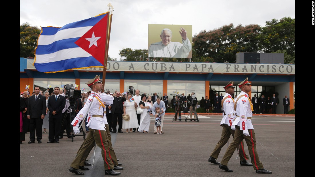 Soldiers march inside the airport in Havana during the arrival ceremony for the Pope on September 19.