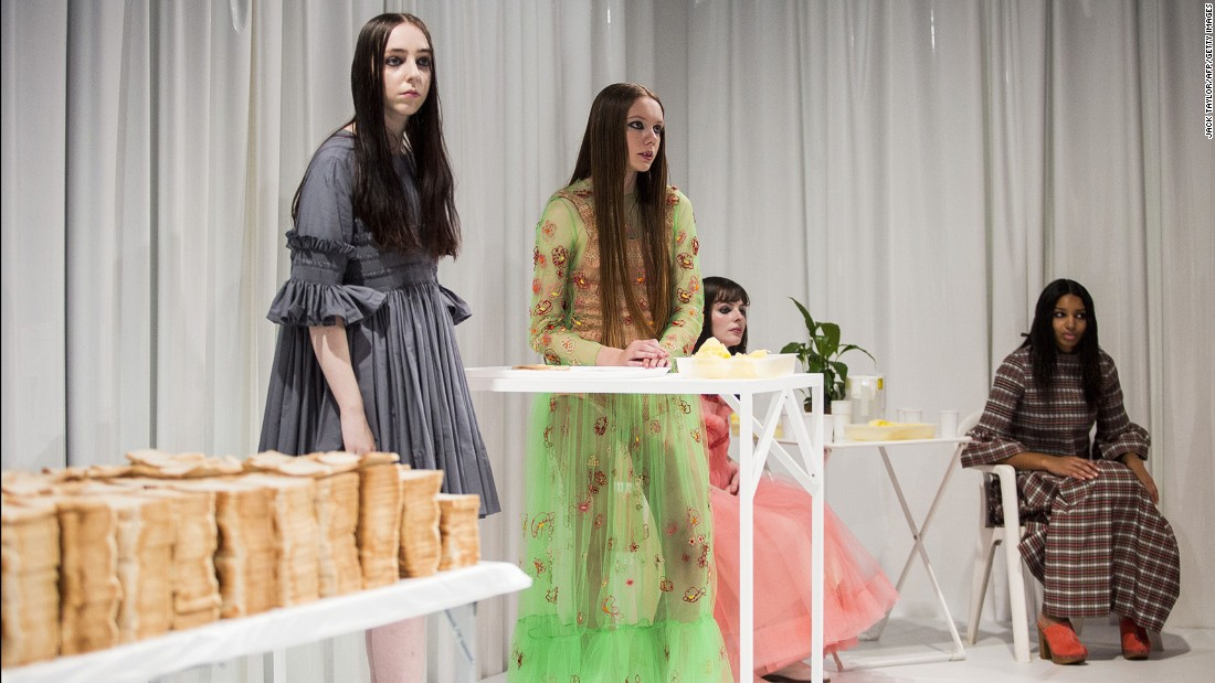 Molly Goddard -- who is part of the British Fashion Council's New Gen talent scheme -- has always tried to tell a story with her presentations. This time around, the models were workers in a British sandwich factory. Dress for the job you want...