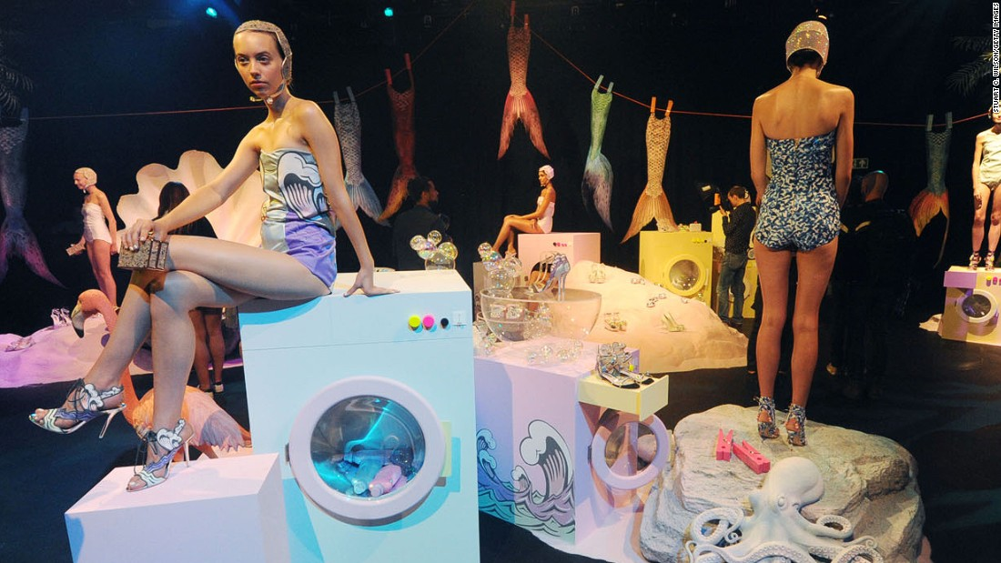 "Shoe designer Sophia Webster's Instagram-friendly ""CraZySeXyNauTiCooL"" presentation was set in an underwater mermaid launderette. Naturally, the marine theme was reflected in the shoes too."