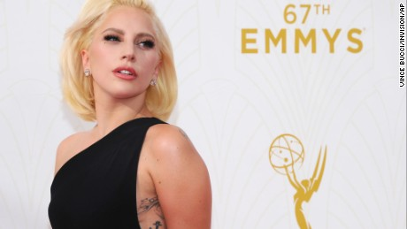 Lady Gaga arrives at the 67th Primetime Emmy Awards on Sunday, Sept. 20, 2015, at the Microsoft Theater in Los Angeles. (Photo by Vince Bucci/Invision for the Television Academy/AP Images)