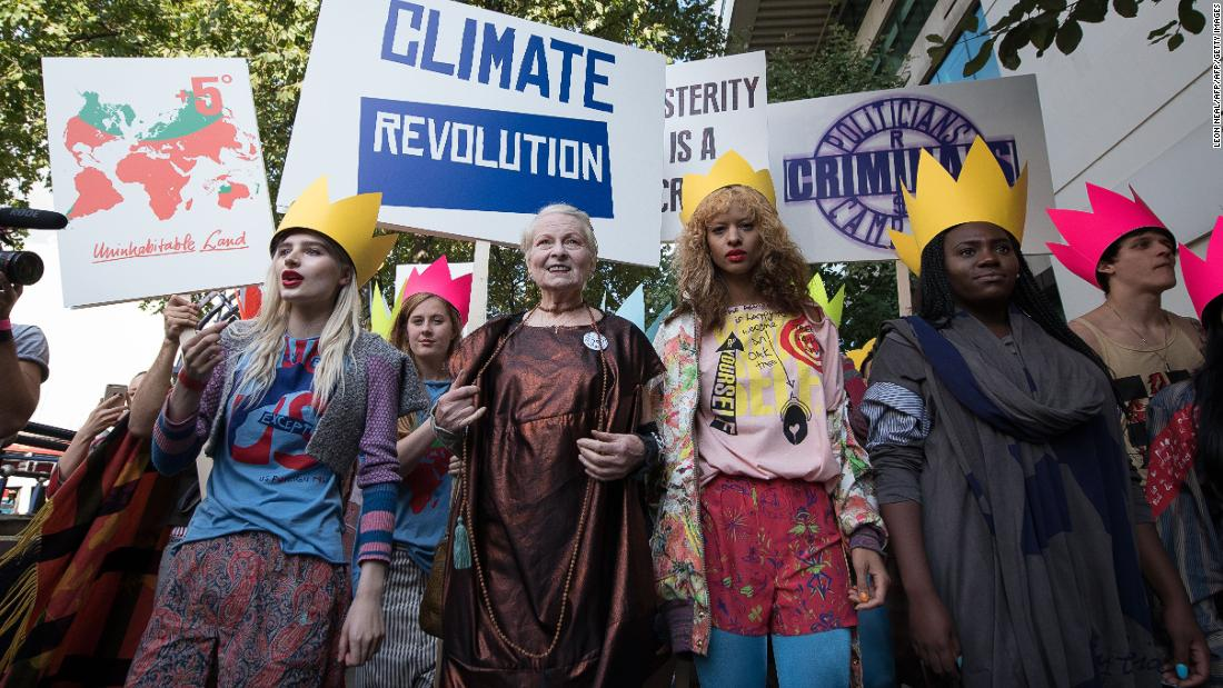 At Vivienne Westwood, the spectacle ahead of the show eclipsed the event itself. Ever the iconoclast, Westwood (center) staged a protest against British austerity measures and fracking.<br />