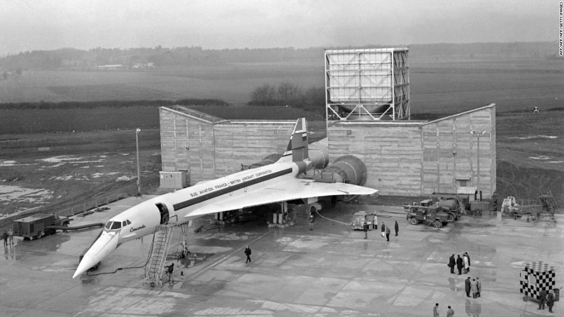 The first Concorde, the 001, was rolled out in 1967. This file photo taken on February 25 1968 at France's Toulouse-Blagnac airport shows the plane in front of an engine-testing system.