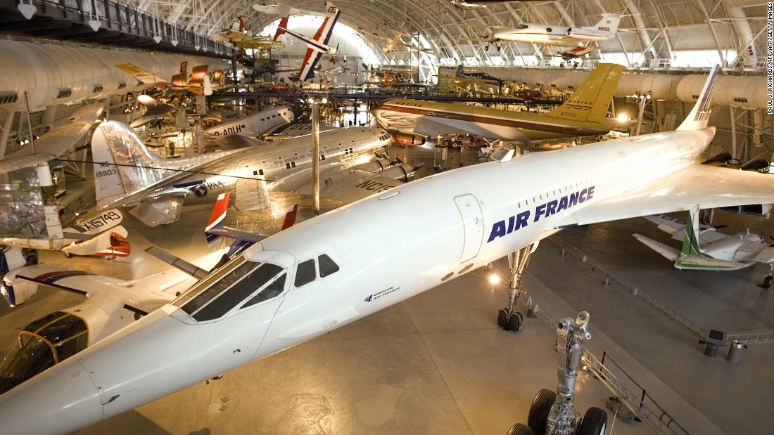 Air France Concorde F-BVFA  is displayed at the Smithsonian Institute's Udvar-Hazy Air & Space Museum in Chantilly, Virginia.