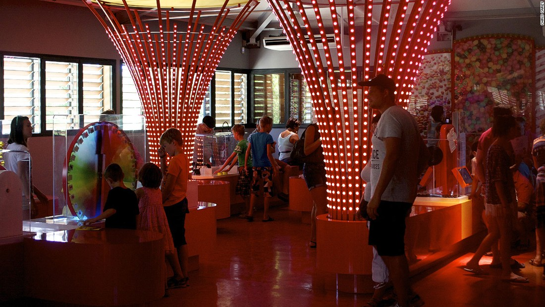 The museum's interior design certainly isn't subtle. It's a riot of bright colors, filled with interactive machines that show how the candies are made.
