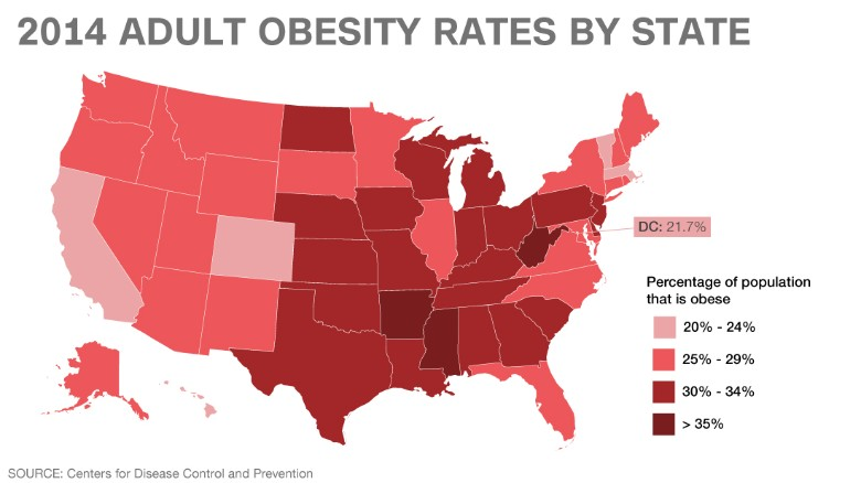 Weight Of The Union Obesity By State CNN - Cdc cancer deaths 2013 map of us