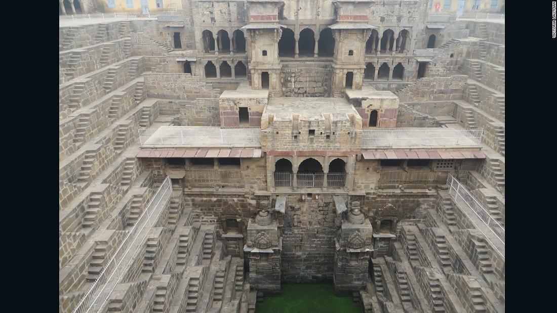 """Chand Baori is one of the better known stepwells thanks to it's cameo appearance in several movies. But still, tourists generally miss the short detour off the road between Jaipur and Agra and if they realized it, they'd kick themselves. It's one of the oldest, deepest, most impressive wells or 'kund,' defined by the sculptural geometric steps on all four sides and steep funnel shape. It's impossible to take a bad photo of a kund..."""