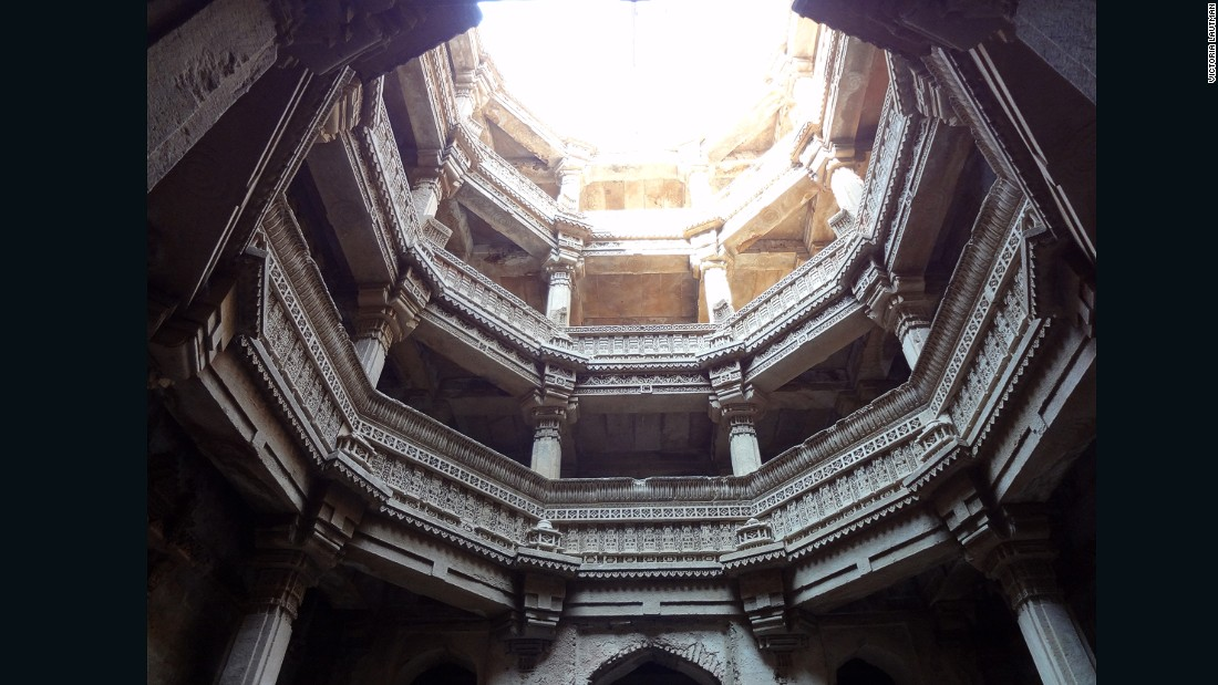 """This is the first stepwell I saw and I couldn't forget it. The shock of looking down into architecture instead of up at it subverted everything I'd expected from a building. The dramatic contrasts of light & shade, the cool air, the telescoping views and hushed sounds...every sense was on alert. Who wouldn't remember that for decades?"""