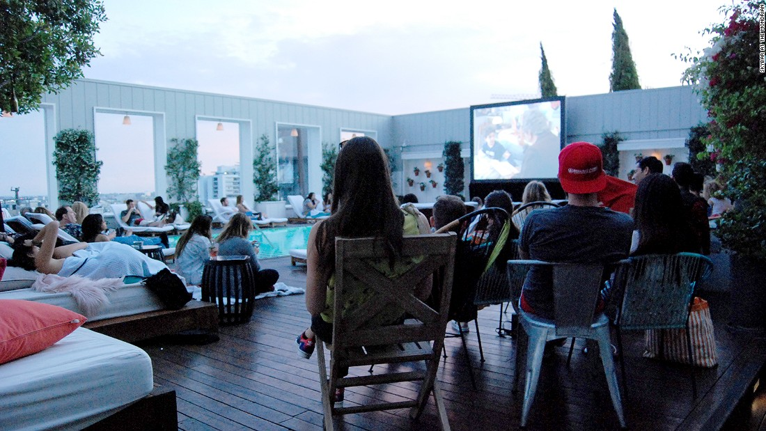 "Every Monday <a href=""http://www.venuereport.com/roundups/22-incredible-outdoor-cinemas-worldwide/entry/13/"" target=""_blank"">The Skybar at the Mondrian</a> hosts a Dive In Theater. Hit movies are shown while staff serve delicious gourmet bites and bubbly. Upcoming screenings include ""Batman"" on October 12 and Dick Tracy on October 19."