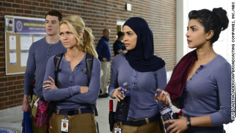 """Priyanka Chopra, right, is among a group of new recruits at the FBI's training base in """"Quantico."""""""