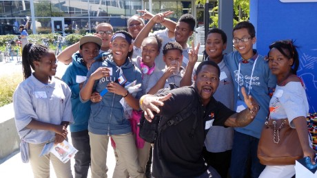 Students from West Oakland Middle School pose with Ahmed Mohamed and their teacher Kennan Scott at the 5th annual Google Science Fair in Mountain View, Calif. on September 21, 2015.