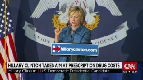 Hilary Clinton takes aim at prescription drug costs