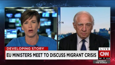 exp Peter Sutherland, United Nations, discusses the ongoing migrant crisis across the EU_00002001