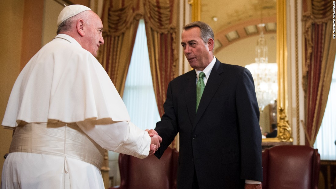 Boehner welcomes Pope Francis before his speech to Congress.