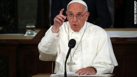Pope Francis addresses a joint meeting of Congress on Capitol Hill  in Washington, Thursday, Sept. 24, 2015, making history as the first pontiff to do so. (AP Photo/Carolyn Kaster)