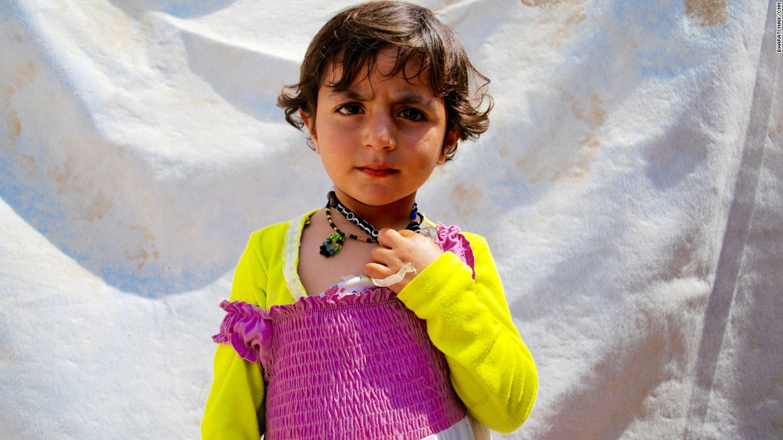 Three-year-old Muna Rasho is from Sinjar. She came to the camp a year ago with her three brothers and two sisters.<br />