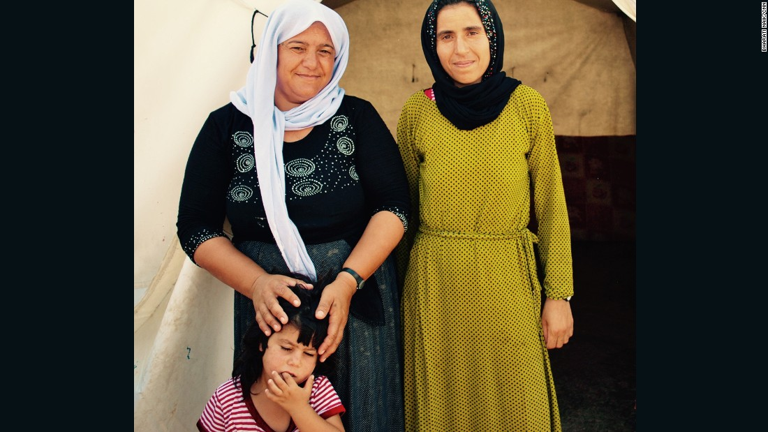 Shami Ravo Hussain, left, and Gozi Haji, right, fled when ISIS came to their village Siba Sheikh Khidir, near Sinjar.