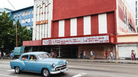 Anthony Bourdain: Parts Unknown - 311 - CubaMore b-roll from Havana, where an old Chevy passes a movie theater. Tickets cost only pennies for Cubans.