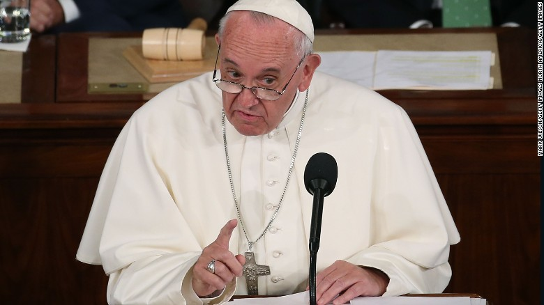 Pope Francis addresses a joint meeting of the U.S. Congress in the House Chamber of the U.S. Capitol on September 24, 2015 in Washington, DC.