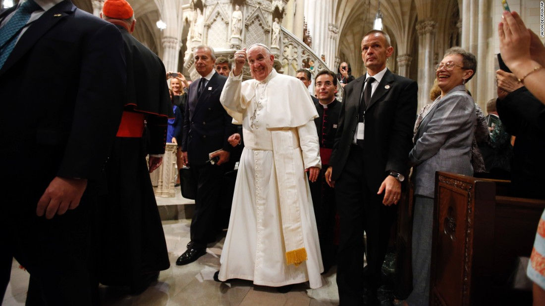 Francis gives a thumbs-up after leading an evening prayer service Thursday, September 24, at St. Patrick's Cathedral in New York.