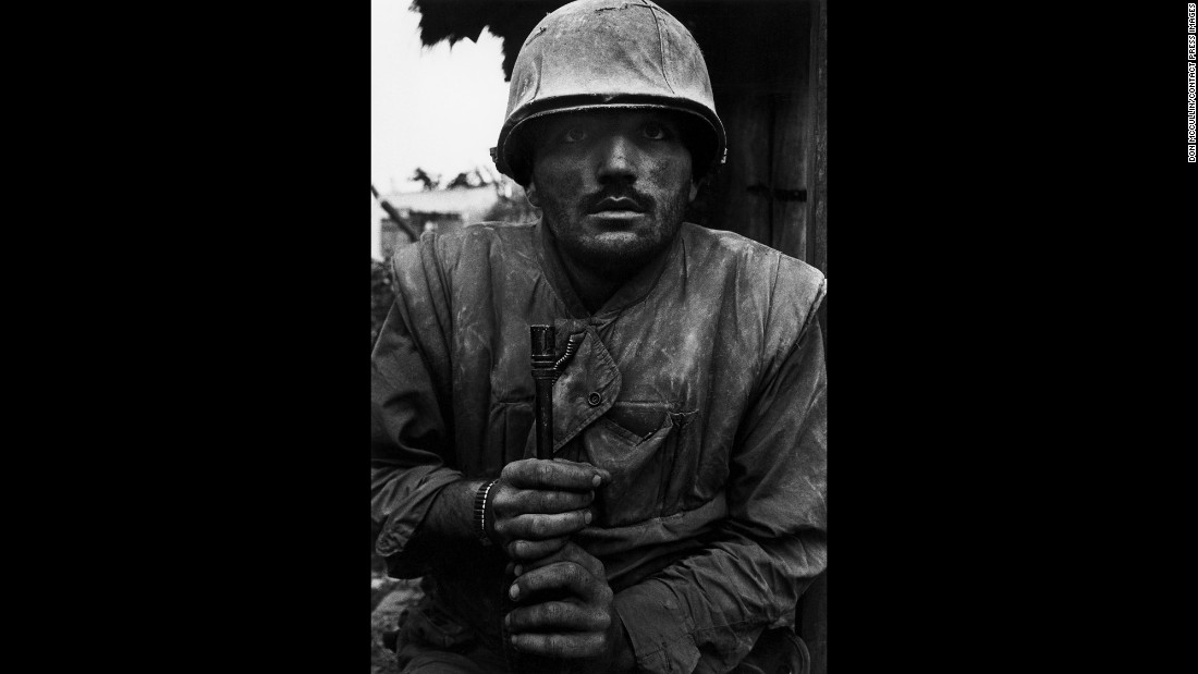 A shell-shocked U.S. soldier awaits transportation away from the front lines in South Vietnam during the Tet Offensive in 1968.