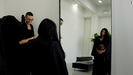Kim Kardashian at a dress fitting before the Givenchy Spring-Summer 2016 show