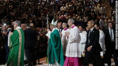NEW YORK, NY - SEPTEMBER 25:  Pope Francis arrives to celebrate Mass at Madison Square Garden on September 25, 2015 in New York City. Pope Francis is visiting New York City during a six-day tour of the United States, with stops in Washington D.C., New York City and Philadelphia, PA. (Photo by Julie Jacobson-Pool/Getty Images)