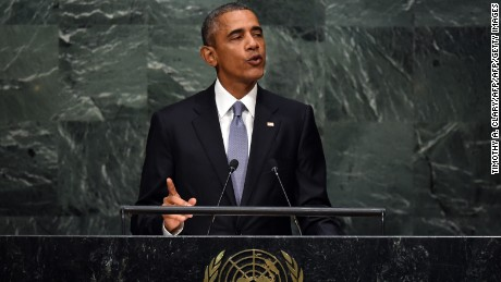 Barack Obama, President of the US addresses the 70th Session of the UN General Assembly September 28, 2015  in New York.    AFP PHOTO / TIMOTHY A. CLARY        (Photo credit should read TIMOTHY A. CLARY/AFP/Getty Images)