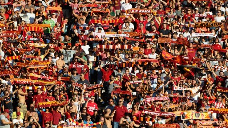 AS Roma fans during the Serie A match between AS Roma and Juventus FC at Stadio Olimpico on August 30, 2015 in Rome, Italy.