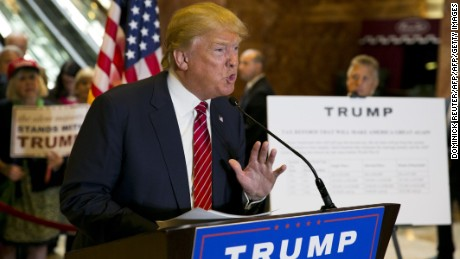 Republican presidential hopeful Donald Trump announces his tax plan during a press conference at Trump Tower in New York on September 28, 2015. AFP PHOTO/DOMINICK REUTER        (Photo credit should read DOMINICK REUTER/AFP/Getty Images)