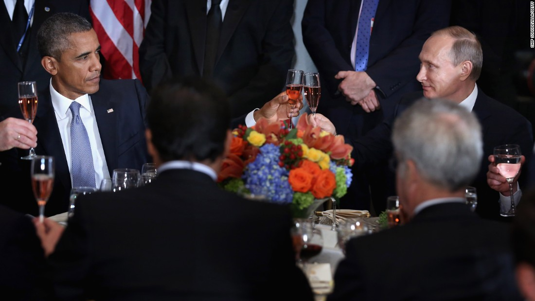 Barack Obama and Russian President Valdimir Putin toast during a luncheon hosted by United Nations Secretary-General Ban Ki-moon during the 70th annual U.N. General Assembly on September 28 in New York City.